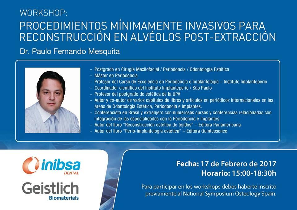 Nou taller sobre regeneració amb el Dr. Paulo Fernando Mesquita a Osteology Spain 2017